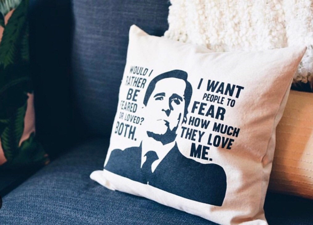 "The Office TV SHOW Pillow - ""Feared or Loved"" Michael Scott Quote"