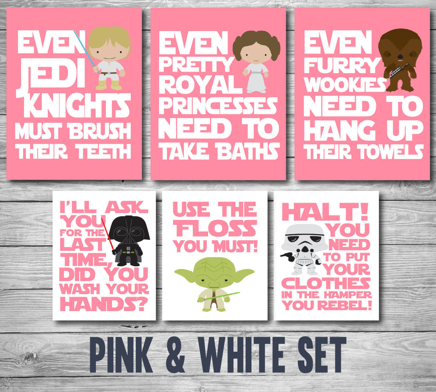 Star Wars Bathroom Prints - 3 Color Options - Star Wars Kids, Bathroom Decor, Printable Art, Star Wars Gift, Home Decor, Gift for Her