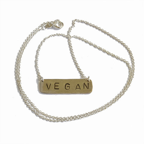 Handmade Vegan Stamped Necklace