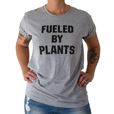 "Light Grey Unisex 'Fueled by Plants"" T-shirt"