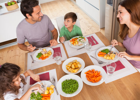 family eat healthy food