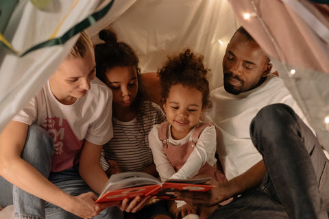 multicultural family boook reading