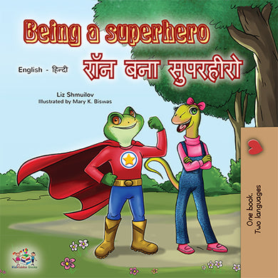 Bilingual-English-Hindi-children_s-book-Being-a-superhero-cover