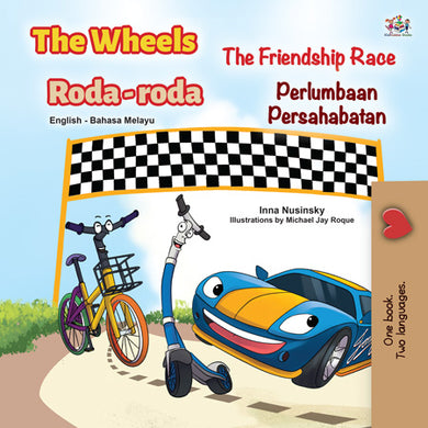 Bilingual-English-Malay-kids-cars-story-Wheels-The-Friendship-Race-cover