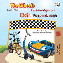 Bilingual-English-Polish-kids-cars-story-Wheels-The-Friendship-Race-cover
