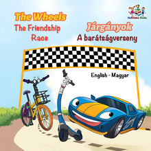 English-Hungarian-Bilingual-kids-bedtime-story-Wheels-The-Friendship-Race-cover