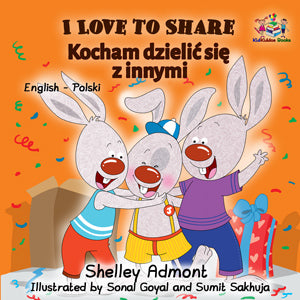 English-Polish-Bilingual-children's-bunnies-book-Shelley-Admont-I-Love-to-Share-cover