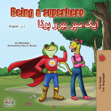 English-Urdu-dual-language-book-for-kids-Being-a-Superhero-cover