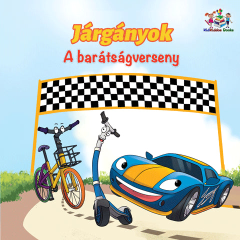 Hungarian-Language-kids-cars-story-Wheels-The-Friendship-Race-cover