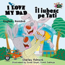 English-Romanian-Bilingual-kids-bunnies-book-I-Love-My-Dad-Shelley-Admont-cover