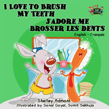 English-French-Bilingual-children's-picture-book-I-Love-to-Brush-My-Teeth-Shelley-Admont-cover