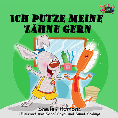 German-language-children's-picture-book-I-Love-to-Brush-My-Teeth-Shelley-Admont-KidKiddos-cover