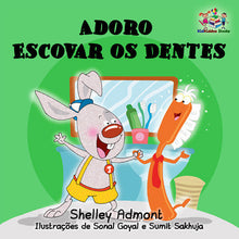 Portuguese-language-children's-picture-book-I-Love-to-Brush-My-Teeth-Shelley-Admont-KidKiddos-cover