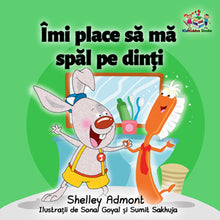 Romanian-language-children's-picture-book-Shelley-Admont-KidKiddos-I-Love-to-Brush-My-Teeth-cover