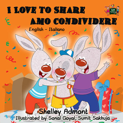 English-Italian-Bilingual-children's-bunnies-book-Shelley-Admont-I-Love-to-Share-cover
