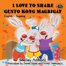English-Tagalog-Bilingual-kids-picture-bunnies-book-I-Love-to-Share-Shelley-Admont-cover
