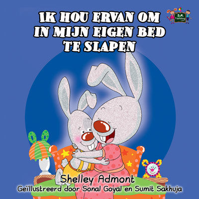 Dutch-language-kids-bunnies-book-Shelley-Admont-KidKiddos-I-Love-to-Sleep-in-My-Own-Bed-cover