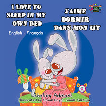 English-French-Bilingual-children's-picture-book-I-Love-to-Sleep-in-My-Own-Bed-Shelley-Admont-cover