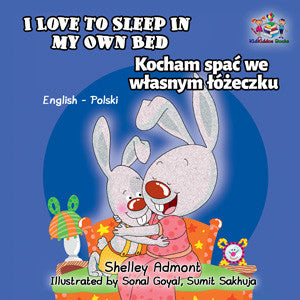 English-Polish-Bilingual-children's-bunnies-book-I-Love-to-Sleep-in-My-Own-Bed-Shelley-Admont-KidKiddos-cover