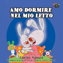 Italian-language-childrens-bunnies-book-Shelley-Admont-I-Love-to-Sleep-in-My-Own-Bed-cover