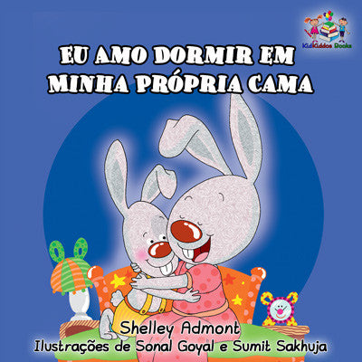 Portuguese-language-childrens-bunnies-book-Shelley-Admont-I-Love-to-Sleep-in-My-Own-Bed-cover