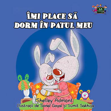 Romanian-language-kids-bunnies-book-Shelley-Admont-KidKiddos-I-Love-to-Sleep-in-My-Own-Bed-cover