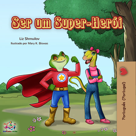 Portuguese-Portugal-language-childrens-bedtime-story-Being-a-Superhero-cover