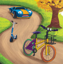 BilinEnglish-Serbian-Bilingual-children's-picture-book-Wheels-The-Friendship-Race-page6