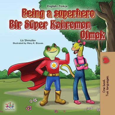 Turkish-English-dual-language-book-for-kids-Being-a-Superhero-cover