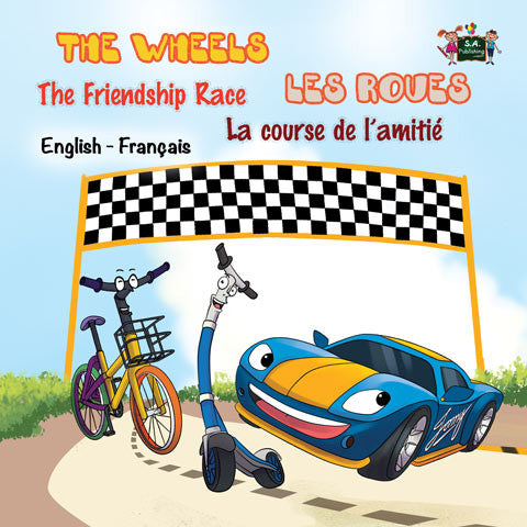 Bilingual-English-French-kids-cars-book-Wheels-The-Friendship-Race-cover