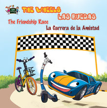 Bilingual-English-Spanish-kids-cars-story-Wheels-The-Friendship-Race-cover
