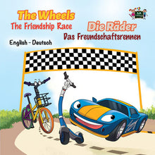English-German-Bilingual-children-cars-book-Wheels-The-Friendship-Race-cover