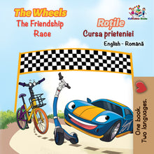 English-Romanian-Bilingual-children's-picture-book-Wheels-The-Friendship-Race-cover