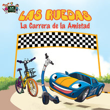 Spanish-Language-children's-cars-picture-book-Wheels-The-Friendship-Race-cover