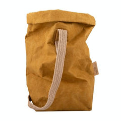 washable paper fiber tote bag in mustard color. One finely weaved shoulder strap.