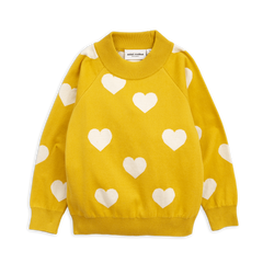 Cute Cozy Yellow Sweater with Hearts. Organic and Environmentally Friendly Sweater in Designer Kids Wear.