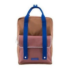 Blue,brick, chocolate color blocked rectangular backpack from Sticky Lemon. Made with PET recycled plastic and sustainable.
