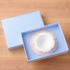 Reale pink baby's bowl and plate set made of safe biomass plastics that use antibacterial and antivirus raw materials (patent) containing more than 52% of Japanese bamboo.