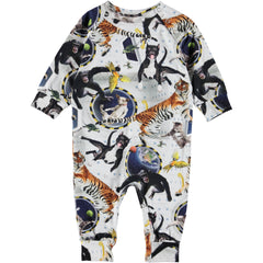 No Gravity' print on the Fairfax baby romper. It has an easy snap closure at the neck and crotch.
