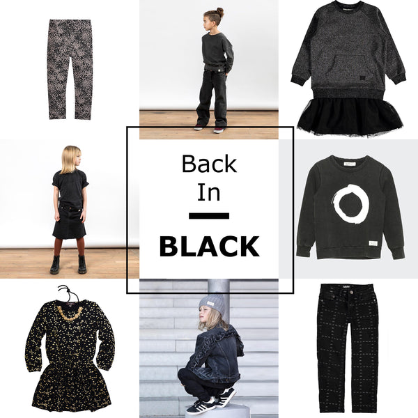 Back in Black - Timeless fashionable designs for children clothes. A grid of clothes including black jeans, sweaters, and black dresses from Scandinavian brand I Dig Denim, Imoga, and more. Locally found in Vancouver, Canada. Fall and Autumn clothes pics for children this year.