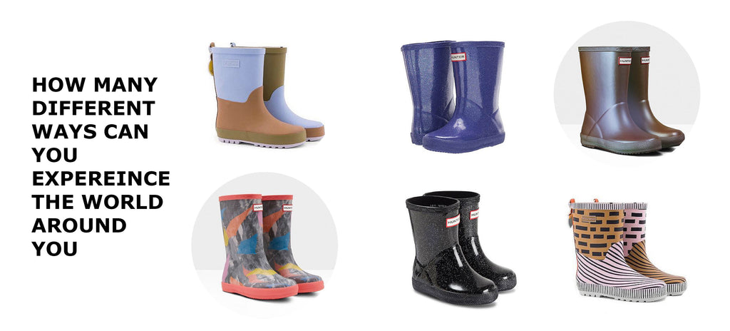 Children footwear and rain boots. Assorted colourful designs from Hunter Boots, Sticky Lemon, Boxbo, and more.