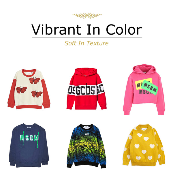 Vibrant in color sweaters. Children hoodies, jumpers, and sweaters lined up for this autumn. A selection of designer children outerwear by Mini Rodini, GCDS, MSGM, and more.