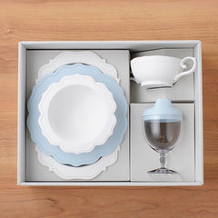 Reale blue baby's 5 piece dinnerware set made of safe biomass plastics that use antibacterial and antivirus raw materials (patent) containing more than 52% of Japanese bamboo.