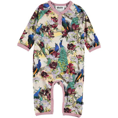 """Fiona is a baby romper in the """"Oriental Peacocks"""" print with a pink edge tape. It has easy snap closure at the neck and crotch."""