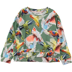 Green rainforest parrot print sweatshirt with front cropped waistband. Ribbed cuff, waistband, and neckline.