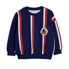 Blue organic cotton sweatshirt with a bold all-over striped design. The iconic panther logo is embroidered on the front.