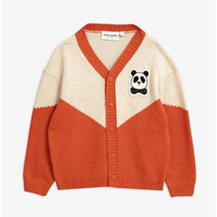 Mini Rodini. Cute Cozy Cardinal Red or Orange Cardigan with embroidered panda. Organic and Environmentally Friendly Sweater in Designer Kids Wear.