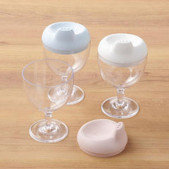 Reale blue and pink baby's sippy cup made of safe biomass plastics that use antibacterial and antivirus raw materials (patent) containing more than 52% of Japanese bamboo.
