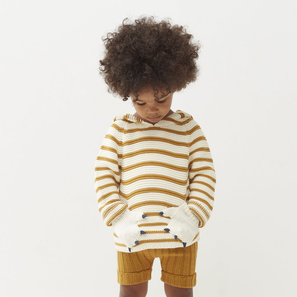 Stripped knitted sweater with hoodie. Knitted koala ears and mitts as pockets.  Made from Aplaca wool. Adorably cute!