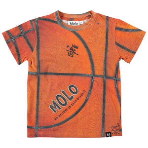 Molo T-shirt with a one of a kind basketball print design.
